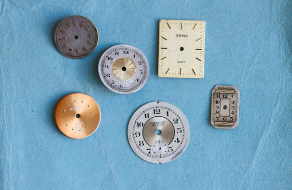 Instant Collection of Old Watch Faces - Assortment of 6 - Steampunk Assemblage