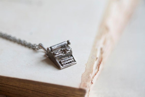 Beware of the Tiny Weenie Typewriter Necklace - Antique Sterling Silver Pendant Charm on a chain