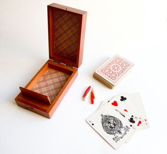Charming Antique Wooden Box With Old Playing Cards