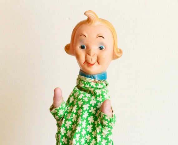 Strange Antique Hand Puppet - Cheekey Character with quiff