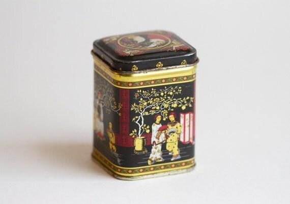 Oriental motif Tea Tin - Trinket Stash Box