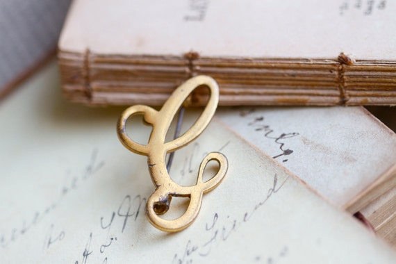 C is for Cat - Letter C Initial Golden Pin Badge Brooch