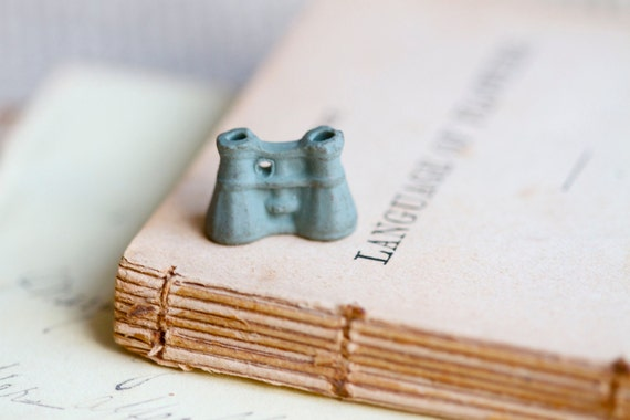 Antique Tiny Weenie Binoculars in Green Ceramic - to use in Jewelry assemblage Altered arts projects