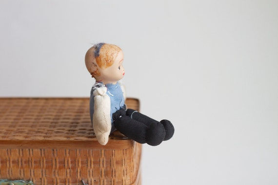 Blue Boy - Porcelain Head and cloth body with Sand - Doll Parts