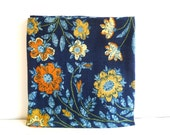 Upholstery Fabric - Floral Blue, Yellow, Orange - 1980's