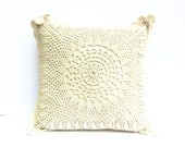 Vintage French Crochet Cushion - Shabby Chic Style - Perfect for Cottage, Farm House, Country Living