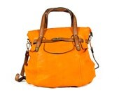 vegan leather handbag purse orange -.-  the Finn -.-  25% launch discount