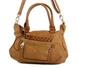 Handmade vegan leather handbag purse beige- the Kayl -  25%  launch discount