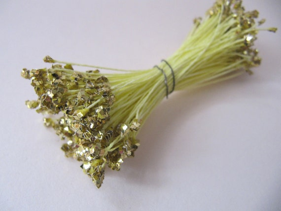 Glittery gold Vintage Floral stamens, vintage double ended stamens, gold millinery pips,  Ribbonwork, Floral projects, mixed media
