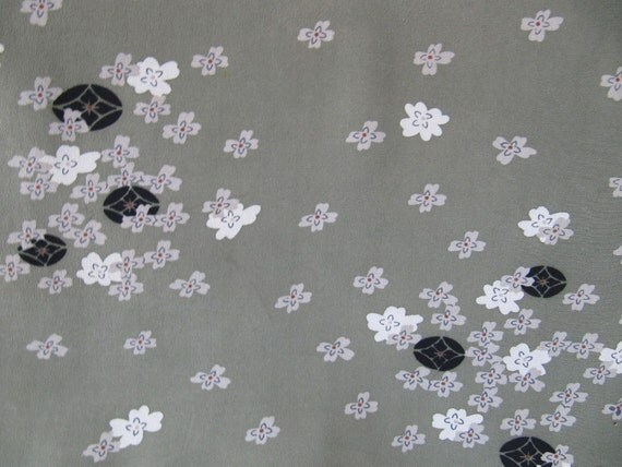 Vintage Japanese Kimono Silk, olive green kinsha silk, japanese fabric, kimono silk panel, japanese kimono, chirimen