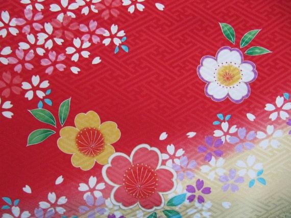 Red Kimono Silk, vintage childs kimono fabric, Japanese, pink white yellow green flowers, rinzu, vintage kimonos