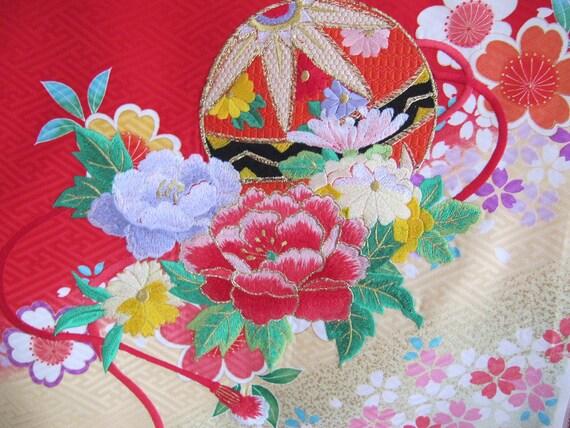 Embroidered Red Kimono Silk, vintage childs kimono fabric, Japanese, pink white yellow green flowers, rinzu, vintage kimonos