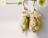 Gentle Spring. Beautiful hand made hand appliqued polymer clay earrings. MADE TO ORDER