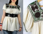 Vintage 60's 70's style Hippie Oaxacan Embroidered Tunic Tent Top -10% OFF Free shipping