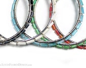 Wire wrapped earrings - beaded hoops - Czech crystal tubes on 60mm silver hoop