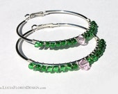 Wire wrapped earrings - beaded hoops - Green Czech glass & pink Swarovski crystals on 60mm silver hoop