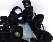 Black genuine leather medicine bag key ring /clutch / wristlet / pouch / purse OOAK
