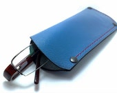 Eye Glasses sleeve holder, Reading glass covers in light blue soft genuine cowhide handmade personalized free monogramming / only one
