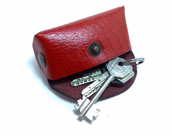 Handmade red genuine leather mini bag/ key chain / wallet / clutch / pouch / purse/ holder/ attach the bag to a belt loop