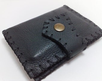 Hand stitched awesome card holder/ wallet / black genuine leather /handmade / card holder/ ID card  business cards and cash free initials