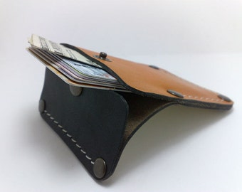 Handmade orange and black genuine leather Wallet / card holder/case/ ooak holds 5-8 cards, some cash/ free monogram , personalized unique