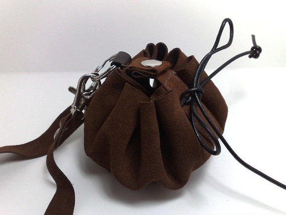 SALE Brown genuine leather medicine  bag clutch / wristlet / pouch / purse ooak ONLY ONE