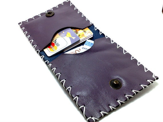 SALE Handmade purple genuine leather handcrafted/ hand stitched/ Wallet / card holder/ purse /case ooak  business cards and cash. for belt