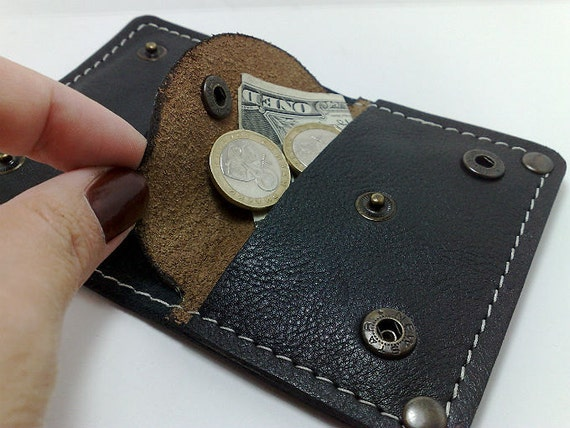 Perfect size wallet from black cowhide leather handcrafted card holder/ wallet /case/ business cards/ cash with coin purse, free monogrammed
