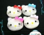 B1594 (25 pcs) Assorted Hello Kitty Head Bow Resin Flatback Scrapbooking Button Craft Supplies