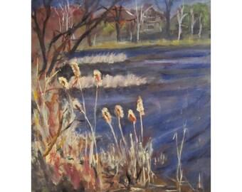 Swartswood Lake NJ  - Ides of March - Original 9 x 12 Oil