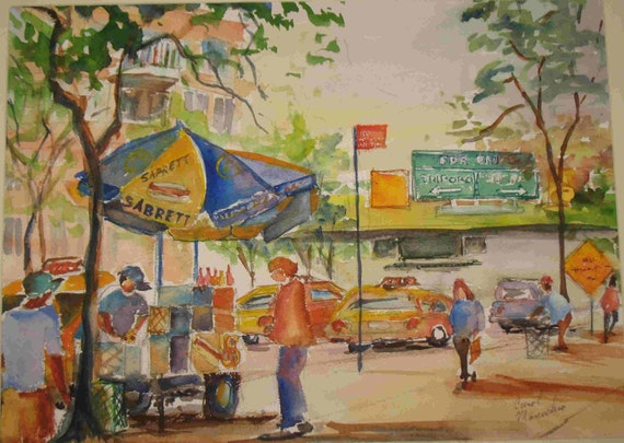 Original Watercolor of a Sabretts Hot Dog Stand Near 2nd Ave and the FDR