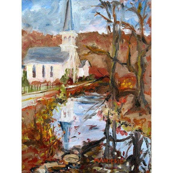Fall Reflections in Flanders NJ - Original 11 x 14 Oil