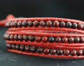 Beaded Artisan Leather Wrap Bracelet - Red Leather Wrap - Red Beaded Wrap  (B126)