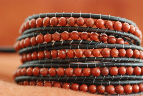 Inspired 5x leather wrap bracelet with red poppy jasper beads on brown leather (B122)