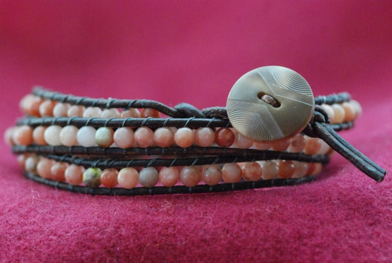 Chan Luu style wrap bracelet with round cherry quartz beads on brown Greek leather (B41)