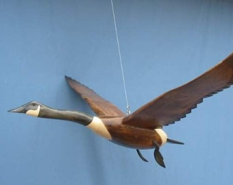 Hand carved Flying Canada Goose decoy woodcarving