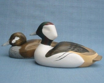 Hand carved Bufflehead Duck Decoy Pair