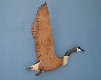 Hand carved Wall mount Canada Goose Decoy Woodcarving