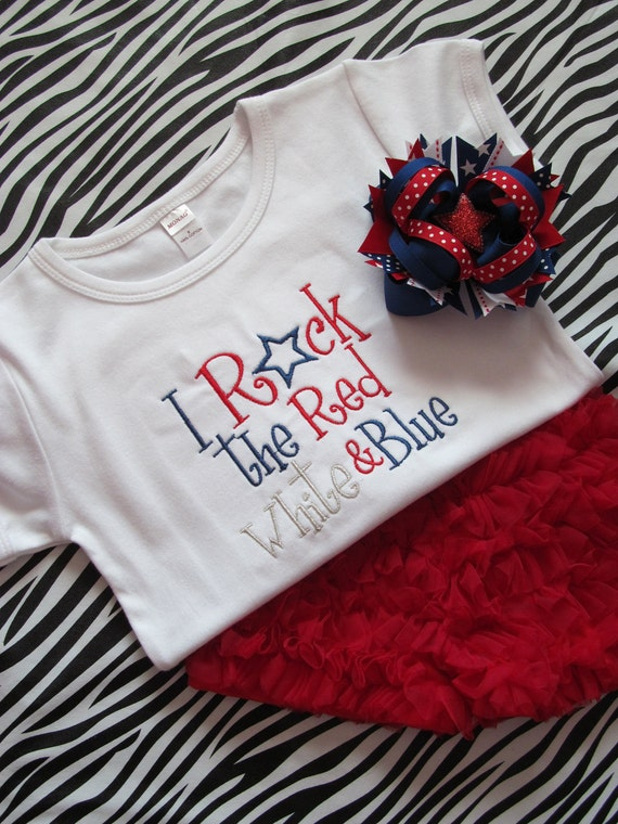 I Rock the Red, White, and Blue Shirt, Ruffled Shorts, and Matching Bow