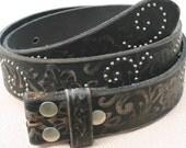 30 Inch Floral Embossed Rivet Studded Full-grain Leather Snap-on Belt Strap