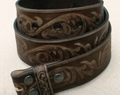 36 Inch Floral Embossed Brown Full-grain Leather Snap-on Belt Strap