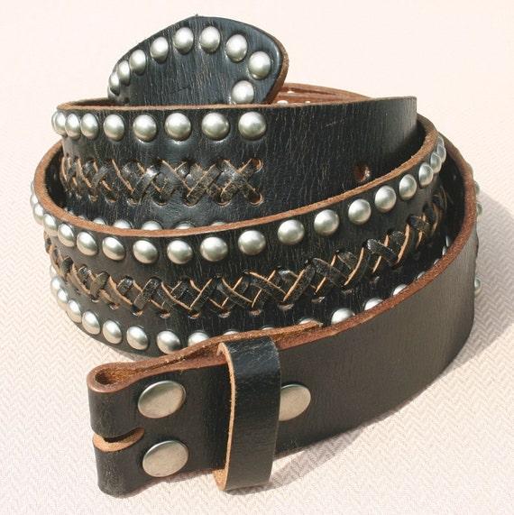 30 Inch Rivet Studded Woven Black Leather Snap On Belt Strap