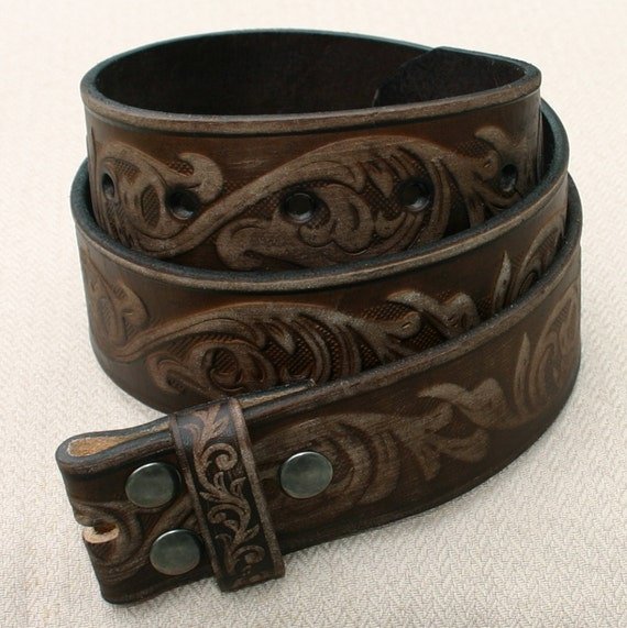 40 Inch Floral Embossed Brown Full-grain Leather Snap-on Belt Strap