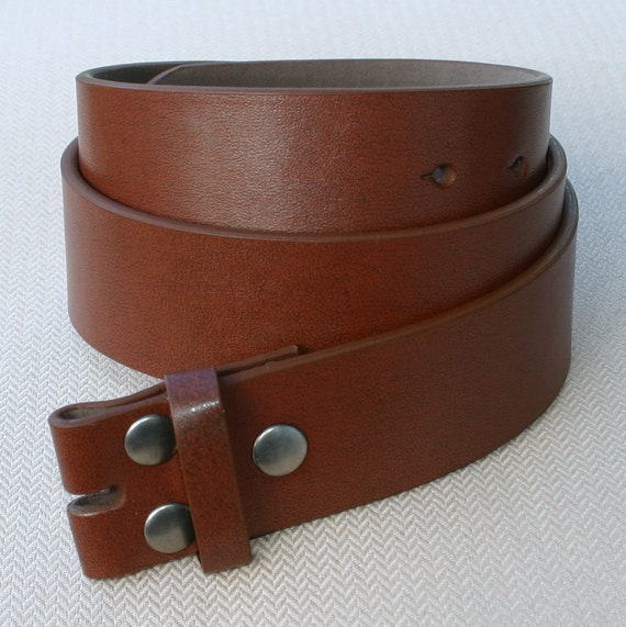 32 Inch Plain Brown Leather Snap On Belt Strap