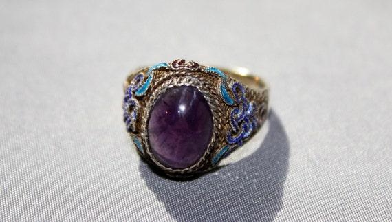 VIntage Adjustable Sterling 925 Purple Stone Ring