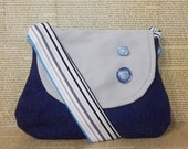 Upcycled blue, beige and turquoise sling bag with buttons - Clearance sale