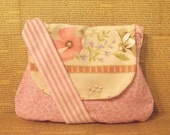 Double flower pink and white sling bag with vintage flap - Clearance sale