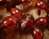 OOAK Handmade Hair Comb and Earrings - Vintage beads - Red - Bohemian Rhapsody
