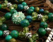 Handmade Hair Comb - Green and Turquoise - Semi-precious - Lil' Blue Urchin