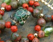 Handmade Hair Comb - Czech Glass Turtle - Green and Orange - Semi Precious - Racing Green